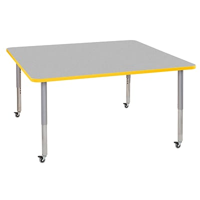 ECR4Kids Thermo-Fused Adjustable Leg 60 Square Laminate Activity Table Grey/Yellow/Silver (ELR-14228-GYYESVSL)