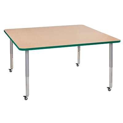 ECR4Kids T-Mold Adjustable Leg 60 Square Laminate Activity Table Maple/Green/Silver (ELR-14128-MGNSV-SL)