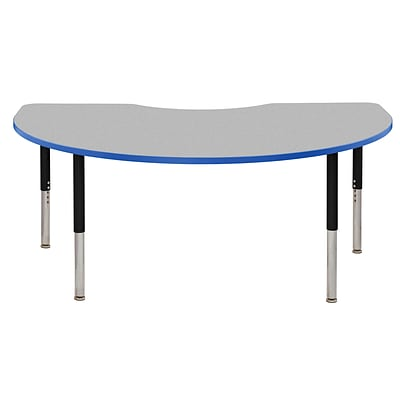 ECR4Kids Thermo-Fused Adjustable Leg 72 x 48 Kidney Laminate Activity Table Grey/Blue/Black (ELR-14204-GYBLBKSL)