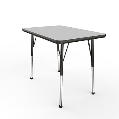 ECR4Kids Thermo-Fused Adjustable Ball 36 x 24 Rectangle Laminate Activity Table Grey/Black (ELR-14206-GYBKBKSB)