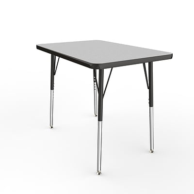 ECR4Kids Thermo-Fused Adjustable Swivel 36 x 24 Rectangle Laminate Activity Table Grey/Black (ELR-14206-GYBKBKSS)