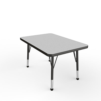 ECR4Kids Thermo-Fused Adjustable Ball 36 x 24 Rectangle Laminate Activity Table Grey/Black (ELR-14206-GYBKBKTB)