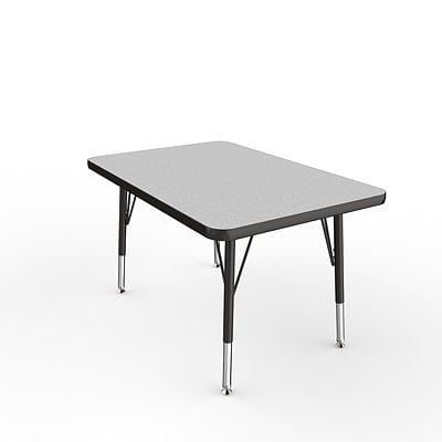 ECR4Kids Thermo-Fused Adjustable Swivel 36 x 24 Rectangle Laminate Activity Table Grey/Black (ELR-14206-GYBKBKTS)
