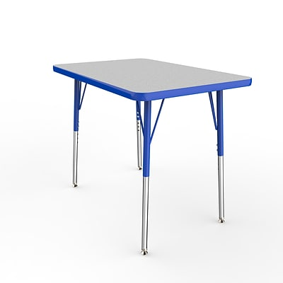 ECR4Kids Thermo-Fused Adjustable Swivel 36 x 24 Rectangle Laminate Activity Table Grey/Blue (ELR-14206-GYBLBLSS)