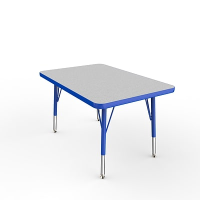 ECR4Kids Thermo-Fused Adjustable Swivel 36 x 24 Rectangle Laminate Activity Table Grey/Blue (ELR-14206-GYBLBLTS)