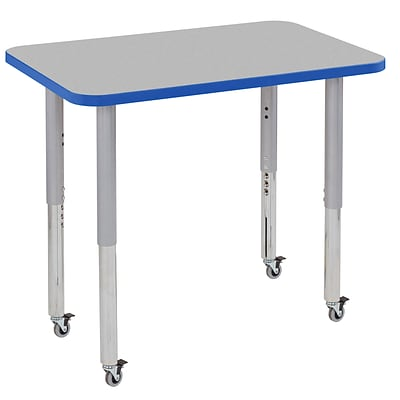 ECR4Kids Thermo-Fused Adjustable Leg 36 x 24 Rectangle Laminate Activity Table Grey/Blue/Silver (ELR-14206-GYBLSVSL)