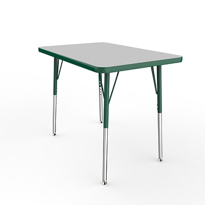 ECR4Kids Thermo-Fused Adjustable Swivel 36 x 24 Rectangle Laminate Activity Table Grey/Green (ELR-14206-GYGNGNSS)