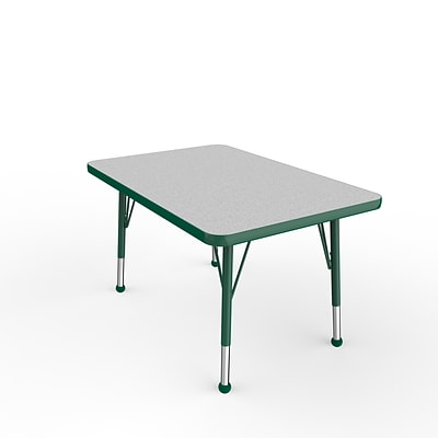 ECR4Kids Thermo-Fused Adjustable Ball 36 x 24 Rectangle Laminate Activity Table Grey/Green (ELR-14206-GYGNGNTB)