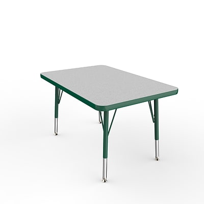 ECR4Kids Thermo-Fused Adjustable Swivel 36 x 24 Rectangle Laminate Activity Table Grey/Green (ELR-14206-GYGNGNTS)