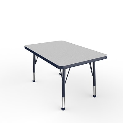 ECR4Kids Thermo-Fused Adjustable Ball 36 x 24 Rectangle Laminate Activity Table Grey/Navy (ELR-14206-GYNVNVTB)