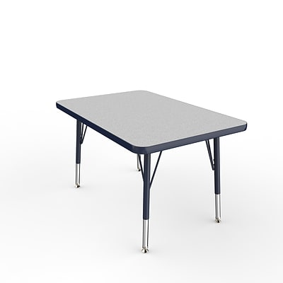 ECR4Kids Thermo-Fused Adjustable Swivel 36 x 24 Rectangle Laminate Activity Table Grey/Navy (ELR-14206-GYNVNVTS)