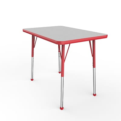 ECR4Kids Thermo-Fused Adjustable Ball 36 x 24 Rectangle Laminate Activity Table Grey/Red (ELR-14206-GYRDRDSB)