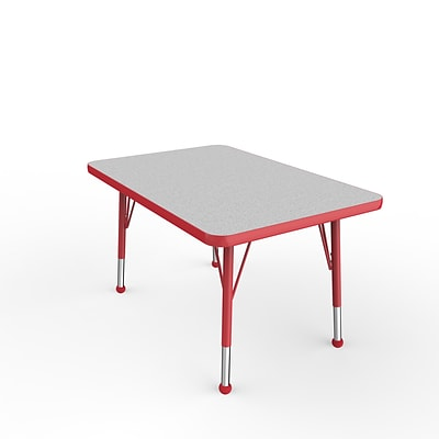 ECR4Kids Thermo-Fused Adjustable Ball 36 x 24 Rectangle Laminate Activity Table Grey/Red (ELR-14206-GYRDRDTB)
