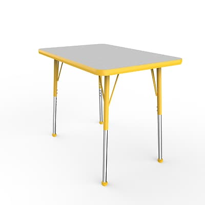 ECR4Kids Thermo-Fused Adjustable Ball 36 x 24 Rectangle Laminate Activity Table Grey/Yellow (ELR-14206-GYYEYESB)