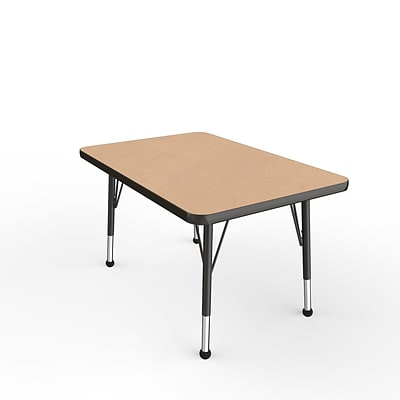 ECR4Kids Thermo-Fused Adjustable Ball 36 x 24 Rectangle Laminate Activity Table Maple/Black (ELR-14206-MPBKBKTB)