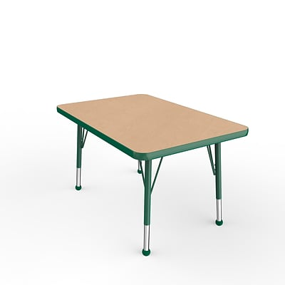 ECR4Kids Thermo-Fused Adjustable Ball 36 x 24 Rectangle Laminate Activity Table Maple/Green (ELR-14206-MPGNGNTB)