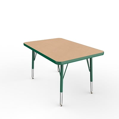 ECR4Kids Thermo-Fused Adjustable Swivel 36 x 24 Rectangle Laminate Activity Table Maple/Green (ELR-14206-MPGNGNTS)