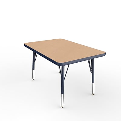 ECR4Kids Thermo-Fused Adjustable Swivel 36 x 24 Rectangle Laminate Activity Table Maple/Navy (ELR-14206-MPNVNVTS)