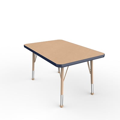 ECR4Kids Thermo-Fused Adjustable Ball 36 x 24 Rectangle Laminate Activity Table Maple/Navy/Sand (ELR-14206-MPNVSDTB)