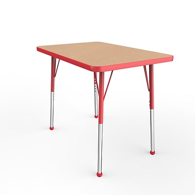 ECR4Kids Thermo-Fused Adjustable Ball 36 x 24 Rectangle Laminate Activity Table Maple/Red (ELR-14206-MPRDRDSB)