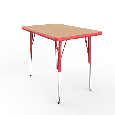 ECR4Kids Thermo-Fused Adjustable Swivel 36 x 24 Rectangle Laminate Activity Table Maple/Red (ELR-14206-MPRDRDSS)