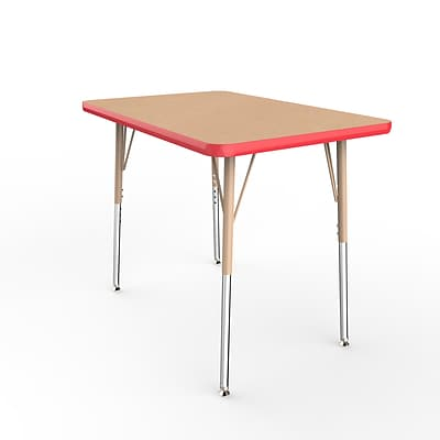 ECR4Kids Thermo-Fused Adjustable Swivel 36 x 24 Rectangle Laminate Activity Table Maple/Red/Sand (ELR-14206-MPRDSDSS)