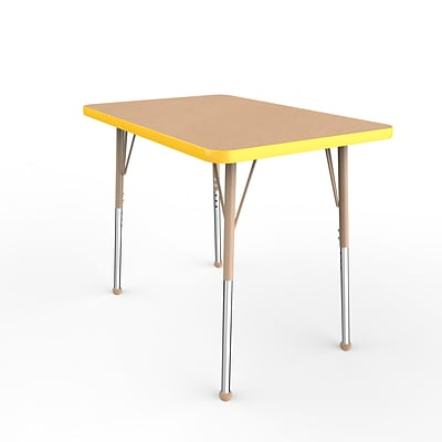 ECR4Kids Thermo-Fused Adjustable Ball 36 x 24 Rectangle Laminate Activity Table Maple/Yellow/Sand (ELR-14206-MPYESDSB)