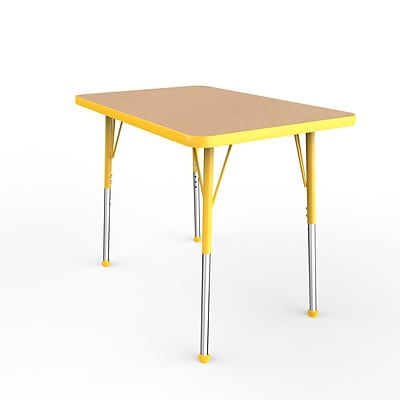 ECR4Kids Thermo-Fused Adjustable Ball 36 x 24 Rectangle Laminate Activity Table Maple/Yellow (ELR-14206-MPYEYESB)