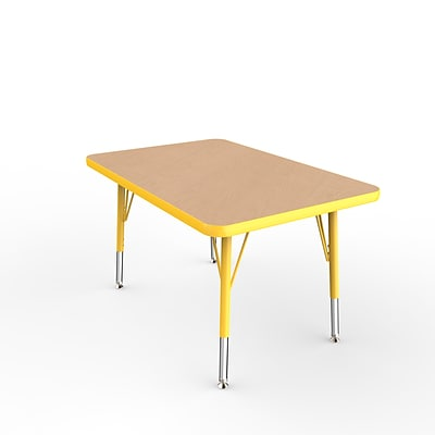 ECR4Kids Thermo-Fused Adjustable Swivel 36 x 24 Rectangle Laminate Activity Table Maple/Yellow (ELR-14206-MPYEYETS)