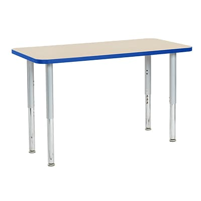 ECR4Kids T-Mold Adjustable Leg 48 x 24 Rectangle Laminate Activity Table Maple/Blue/Silver (ELR-14107-MBLSV-SL)