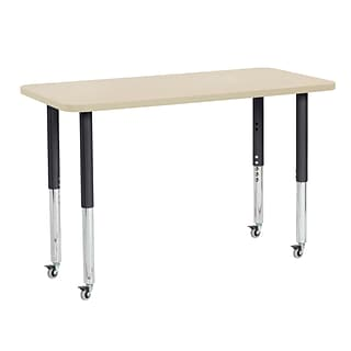 ECR4Kids T-Mold Adjustable Leg 48 x 24 Rectangle Laminate Activity Table Maple/Maple/Black (ELR-14