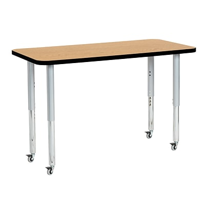 ECR4Kids Thermo-Fused Adjustable Leg 48 x 24 Rectangle Laminate Activity Table Oak/Black/Silver (ELR-14207-OKBKSVSL)