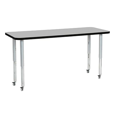 ECR4Kids Thermo-Fused Adjustable Leg 60 x 24 Rectangle Laminate Activity Table Grey/Black/Silver (ELR-14208-GYBKSVSL)