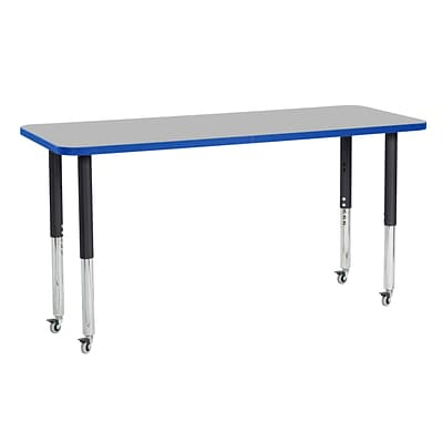 ECR4Kids Thermo-Fused Adjustable Leg 60 x 24 Rectangle Laminate Activity Table Grey/Blue/Black (ELR-14208-GYBLBKSL)