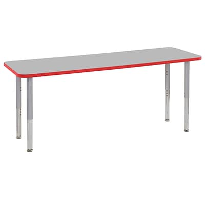 ECR4Kids Thermo-Fused Adjustable Leg 72 x 24 Rectangle Laminate Activity Table Grey/Red/Silver (ELR-14209-GYRDSVSL)