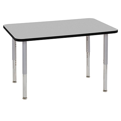 ECR4Kids Thermo-Fused Adjustable Leg 48 x 30 Rectangle Laminate Activity Table Grey/Black/Silver (ELR-14210-GYBKSVSL)
