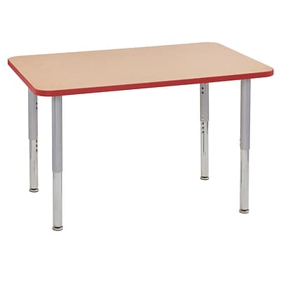 ECR4Kids Thermo-Fused Adjustable Leg 48 x 30 Rectangle Laminate Activity Table Maple/Red/Silver (ELR-14210-MPRDSVSL)