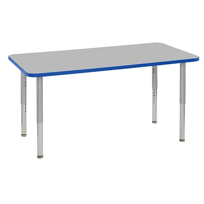 ECR4Kids Thermo-Fused Adjustable Leg 60 x 30 Rectangle Laminate Activity Table Grey/Blue/Silver (ELR-14211-GYBLSVSL)