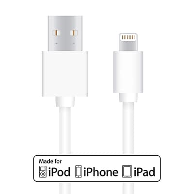 Lightning to USB Cable - 10 ft (3.05 M) MFI Certified Data Sync/ Charge Cord for iPad mini, iPhone 7/8/X, White
