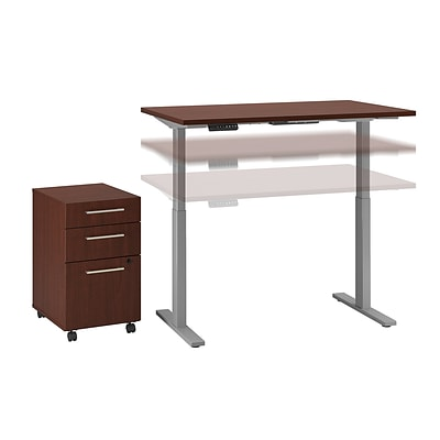 Move 60 by Bush Business Furniture 48W x 30D Height Adjustable Desk with Storage, Harvest Cherry (M6S010CS)