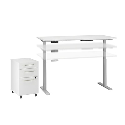 Move 60 by Bush Business Furniture 60W x 30D Height Adjustable Standing Desk with Storage, White (M6S011WH)