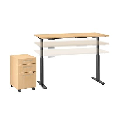 Move 60 by Bush Business Furniture 72W Height Adjustable Standing Desk with Storage, Natural Maple (M6S003AC)