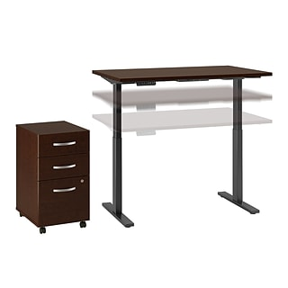Move 60 by Bush Business Furniture 48W x 30D Height Adjustable Desk with Storage, Mocha Cherry (M6