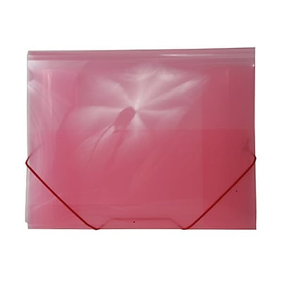 JAM Paper® Action Case/ Plastic Portfolio, Letter Booklet, 9-1/2 x 12-3/8, Pink, Sold Individually (332531)
