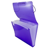 JAM Paper® Accordion Folders, Plastic 13 Pocket Expanding File, Letter, 9 x 13, Purple, Sold Individ