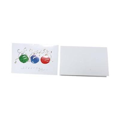 JAM Paper® Christmas Card Set, Modern, Three Ornaments, 10/Pack (8156226)