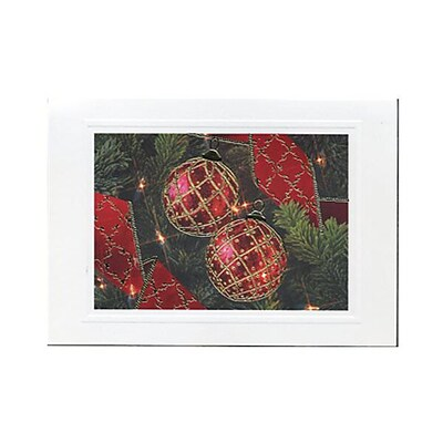 JAM Paper® Christmas Cards Set, Modern Gold Border Ornaments, 10/Pack (W2564)
