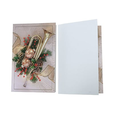 JAM Paper® Christmas Card Set, Modern, Holiday Horn, 10/Pack (8156227)