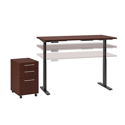 Move 60 by Bush Business Furniture 72W x 30D Height Adjustable Desk with Storage, Harvest Cherry (M6S006CS)