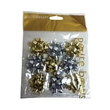 JAM Paper® Gift Bows, Super Tiny, 1 Diameter, Gold & Silver, 9/Pack (BW929SGO)